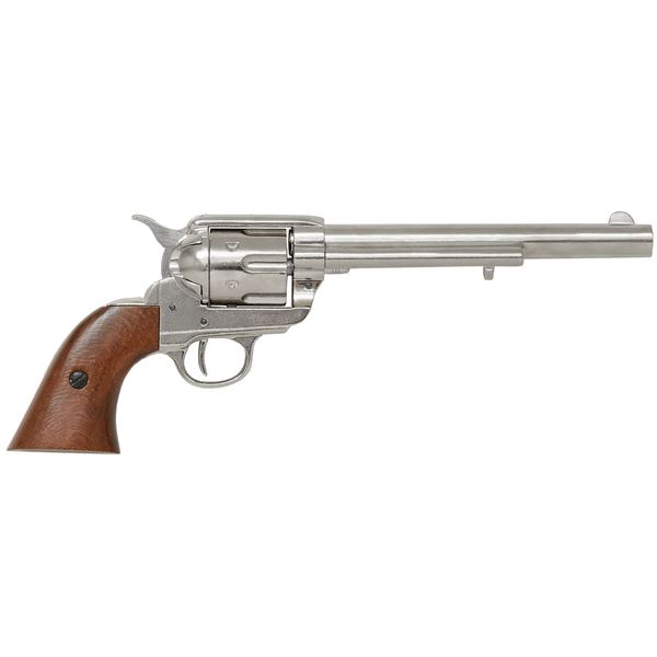 Colt Peacemaker With Wooden Handle Nickel Long Barrel